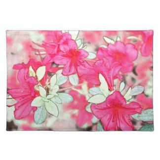hübsche rosa Azaleen-Blumen. Blumengarten-Pflanze Stofftischset