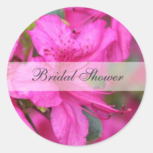 Hübsche rosa Azaleen-Blumen-Brautdusche Runder Aufkleber