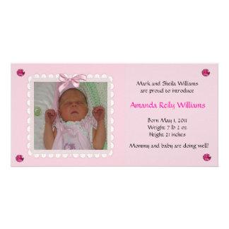 Hübsche rosa Baby-Mitteilung Photo Karte