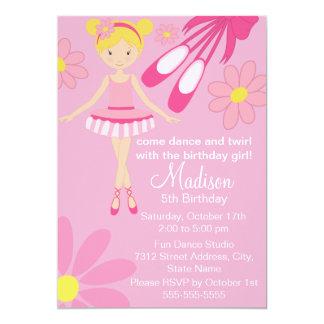 Hübsche rosa Ballerina-Tanz-Geburtstags-Einladung 12,7 X 17,8 Cm Einladungskarte
