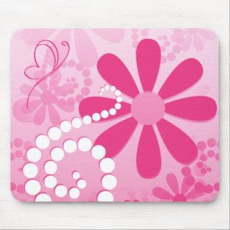 Hübsche rosa Blumen-niedliches Retro Mousepad
