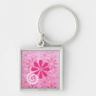 Hübsche rosa Blumen-niedliches Retro Silberfarbener Quadratischer Schlüsselanhänger