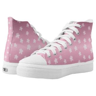 Hübsche rosa Blumenschuhe Hoch-geschnittene Sneaker