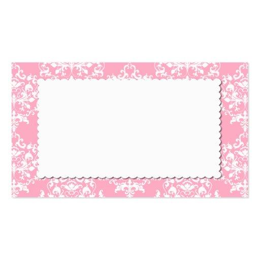 Hübsche rosa Damast-Eskorte-Platzkarte Visitenkarten Vorlagen