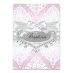 Hübsche rosa Damast-u. Bogen-Taufe-Einladung