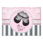 Hübsche rosa Diamanten und Perlen-Baby-Dusche Personalisierte Einladungskarte