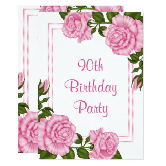 Hübsche rosa Eckblumenstrauß-90. Geburtstag Karte