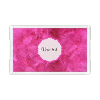 Hübsche rosa Federn Acryl Tablett