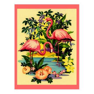 HÜBSCHE ROSA FLAMINGOS IN DER TROPISCHEN WALDpostk Postkarte