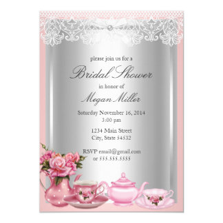 Hübsche rosa hoher Tee-Brautparty-Einladung Karte