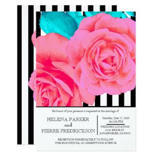 Hübsche rosa moderne Wedding Rosen u. Streifen Karte