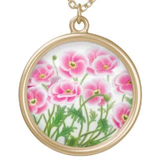 Hübsche rosa Mohnblumen-Halskette Vergoldete Kette