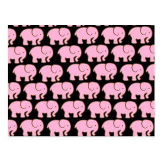 Hübsche rosa niedliche Elefanten auf Schwarzem Postkarte