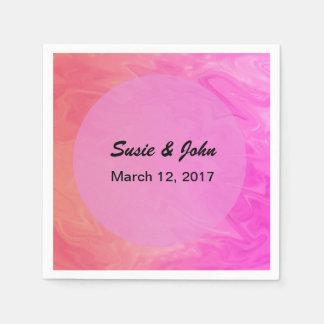 Hübsche rosa orange Hochzeit Papierservietten