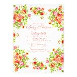 Hübsche rosa Pfirsich-Rose BlumenBabyShower Personalisierte Ankündigungskarten