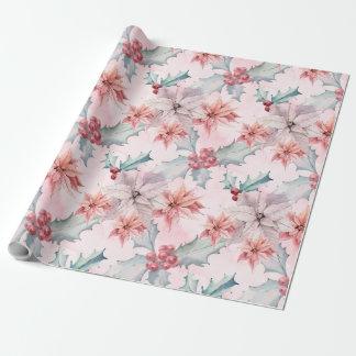Hübsche rosa Poinsettia-Blumen Geschenkpapier