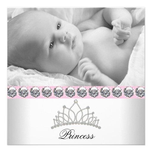 Hübsche rosa Prinzessin Baby Birth Announcements Einladungskarten