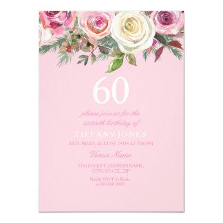 Hübsche rosa Rosen-Blumen60. Geburtstag laden ein Karte
