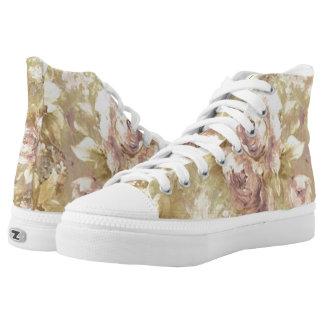 Hübsche rosa Rosen-Blumenschuhe Hoch-geschnittene Sneaker