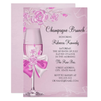 Hübsche rosa Rosen-Champagnebrunch-Einladung Karte