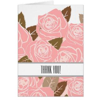 Hübsche rosa Rosen danken Ihnen Karte