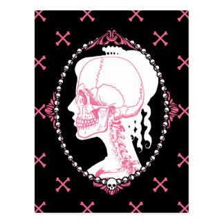 Hübsche rosa Schädel-Miniatur Postkarte