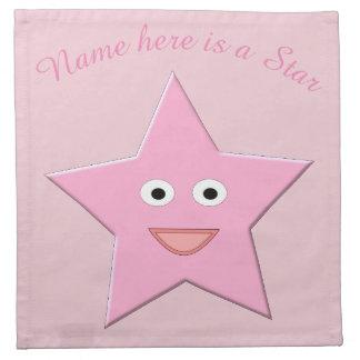 Hübsche rosa Stern-Gewohnheits-Servietten Stoffserviette