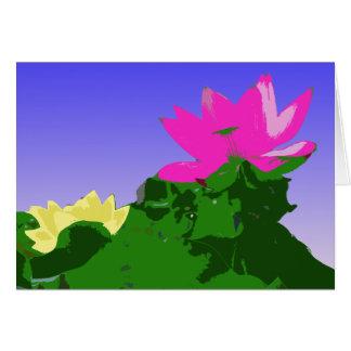 hübsche rosa und gelbe Wasserlilie Karte