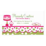 Hübsche rosa und grüne Bäckerei-Geschäfts-Karte Visitenkartenvorlagen