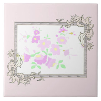 Hübsche rosa und malvenfarbene Blumen Fliese