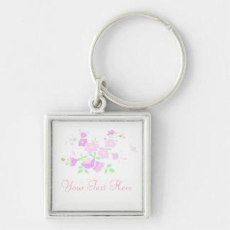 Hübsche rosa und malvenfarbene Blumen Schlüsselanhänger