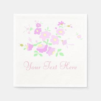 Hübsche rosa und malvenfarbene Blumen Serviette