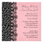 Hübsche rosa und schwarze personalisierte einladungskarte