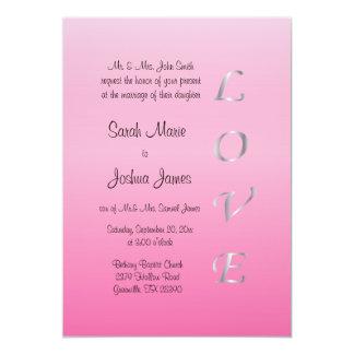Hübsche rosa und silberne Hochzeits-Einladung 12,7 X 17,8 Cm Einladungskarte