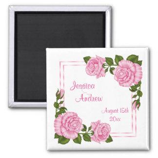 Hübsche rosa Wedding Eckblumensträuße Quadratischer Magnet