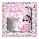 Hübsche rosa weiße Mädchen-Baby-Dusche Individuelle Ankündigungen