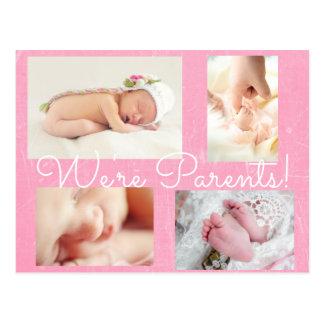 """Hübsche Rosa-""""wir sind Eltern-"""" Geburts-Mitteilung Postkarte"""