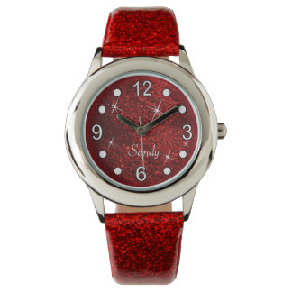 Hübsche rote Glitzer-Beschaffenheit Uhr