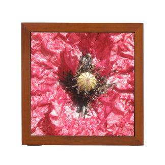 Hübsche rote Mohnblumen-Blumen-Makroschreibtisch Stifthalter