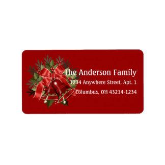 Hübsche rote Weihnachtsbell-Adressen-Etiketten Adressaufkleber