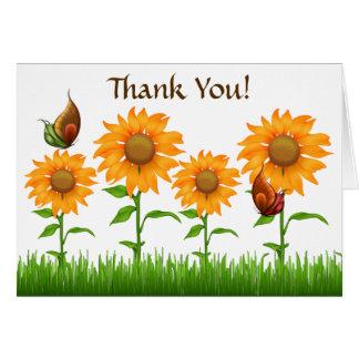 Hübsche Sonnenblumen u. Schmetterlinge danken Karte