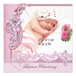 Hübsche Taufe-Rosa-Mädchen-Foto-Schmetterlings-Spi Individuelle Einladung