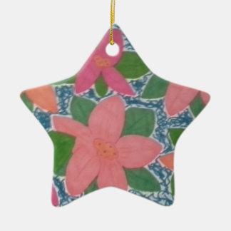 Hübsche tropische Blumen-handgemaltes Muster Keramik Stern-Ornament