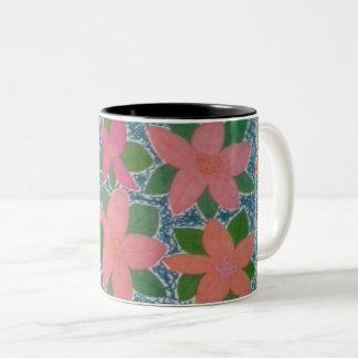Hübsche tropische Blumen-Tasse Zweifarbige Tasse