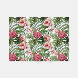 Hübsche tropische, rosa und rote Hibiskus-Decke Fleecedecke