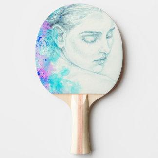 Hübsche viktorianische Dame In Blue Tischtennis Schläger