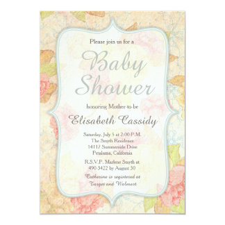 Hübsche Vintage Blumenbaby-Duschen-Einladung 12,7 X 17,8 Cm Einladungskarte
