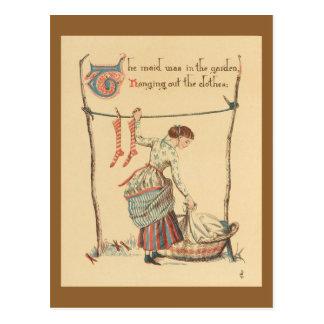 Hübsche Vintage Dame Postkarte