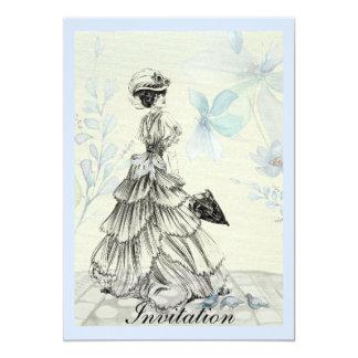 Hübsche Vintage Dame und blaue Blumen 12,7 X 17,8 Cm Einladungskarte