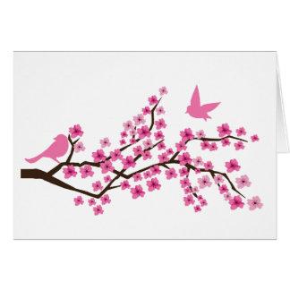 Hübsche Vögel auf Kirschblüten-Niederlassungskarte Karte